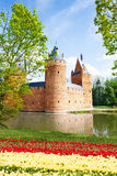 Beersel-Schloss, Brüssel nahe Fluss mit Blumen Stockfotos