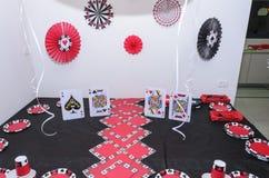 Beersheba, Israël 24 maart, Lijst voor een partij in een casinostijl die wordt geplaatst Stock Afbeelding