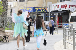 Free Beersheba, Israel. March 24 -Women In Carnival Costumes On The Street In Purim Royalty Free Stock Photography - 68973287