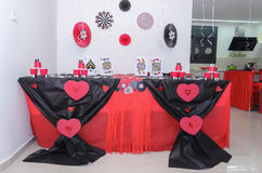 Beersheba, Israel. March 24,Table for a party set in a casino style Royalty Free Stock Image