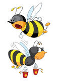 Bees. Two bees flying with honey in buckets royalty free illustration