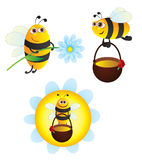 Bees. With honey and flower royalty free illustration