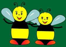 Two bees. With black and yellow stripes.Bees have antennae black and blue wings. The background is dark green Stock Photography