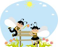 Bees. Boys and girls dressed as bees Royalty Free Stock Images