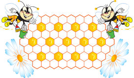 Bees. The illustration shows two funny bee draws honey.An illustration is divided into layers.Additionally, a vector EPS format Royalty Free Stock Photos