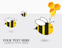 Bees. 3 little funny bees flying stock illustration