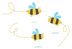 Bees. Set of three color bees stock illustration