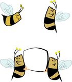 Bees. In cartoon style with copy space on white stock illustration