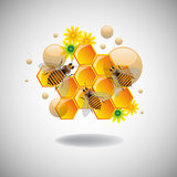 Bees. Abstract colorful illustration with honeycomb cells, flowers and bees on a clean background stock illustration