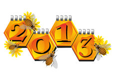 Bees announcing a New Year. Abstract colorful illustration with small bees flying near some honeycomb cells on which is written the number 2013. New Year concept Royalty Free Stock Images