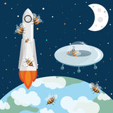 Bees astronauts in the space. UFO and rocket. Bees in the space. Flying UFO and rocket. Stars, earth and moon. Cosmos illustration with spaceships Stock Photography