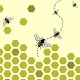 Bees background. Abstract background with flying bees and honeycombs Royalty Free Stock Image
