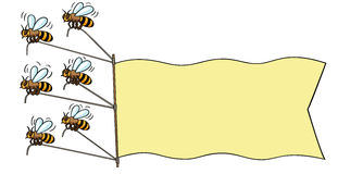 Bees with banner. Stock Images