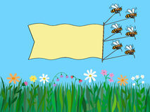 Bees with banner over nature. Stock Photos