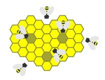 Bees and bee honeycombs. On a white background Royalty Free Stock Photo