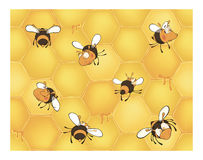 Bees and bee's honeycomb. Seamless pattern. Set of various bees on a yellow background Royalty Free Stock Images