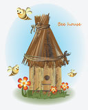 Bees, beehive and flowers. Vector image. Design for children`s books, textiles, poster Stock Photos