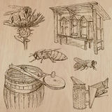 Bees, beekeeping and honey - hand drawn vector pack 7 Royalty Free Stock Photography