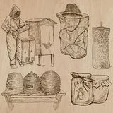 Bees, beekeeping and honey - hand drawn vector pack 10 stock illustration