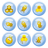 Bees buttons. A set of buttons. Funny bees, honeycombs and honey.Comical images vector illustration