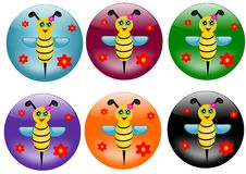 Bees buttons Royalty Free Stock Photos