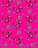Bees on the Buzz on Bright Pink Royalty Free Stock Photos