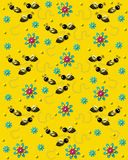 Bees on the Buzz on Bright Yellow Stock Photo