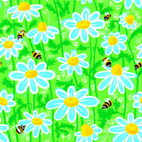 Bees and camomile Royalty Free Stock Image
