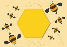 Bees cartoon background 3. Bees cartoon background card vector stock illustration