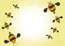 Bees cartoon background. Card vector stock illustration