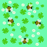 Bees and clover. Bumble bees and clover on solid background illustration Royalty Free Stock Photography