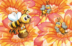 Bees collecting honey. Illustration of the bees collecting honey Stock Images