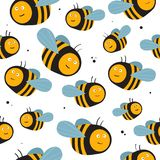 Bees, colorful seamless pattern. Bees, hand drawn seamless pattern. Colorful backdrop with insects. Decorative colored wallpaper, good for printing. Hand drawn stock illustration