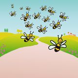 Bees in the countryside (vector) vector illustration