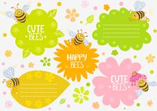 Bees cute. Illustration cute cartoon bees, set frame vector illustration