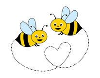 Bees. Cute little bees isolated on white background illustration royalty free illustration
