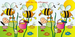 Bees-10differences. Find ten differences in the figures - bees Royalty Free Stock Photography