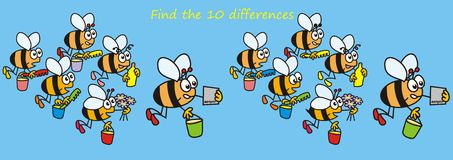 Bees - find the ten differences. Find ten differences in the figures. A game for children and adults Royalty Free Stock Images