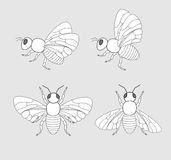 Bees and Flies Drawings Stock Image