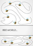 Bees. Flight trajectory of of many bees on gray gradient background stock illustration