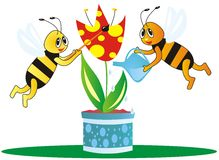 Bees and flower. Two bees take care of tulip. Picture for children stock illustration