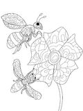 Bees on a flower Coloring book vector for adults Stock Images