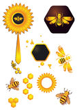 Bees and flower. And hexagon elements Stock Images