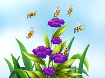 Bees and flower. Illustration of bees flying over some flowers stock illustration