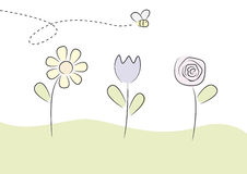 Bees and Flowers. Childish illustration of a bee flying above some flowers Stock Images