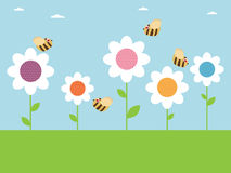 Bees and flowers Royalty Free Stock Photo