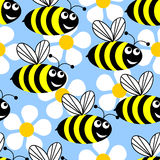 Bees and flowers. Seamless background in the form of flying bees and white flowers on a blue background stock illustration