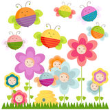 Bees and flowers. Happy bees and flowers background stock illustration