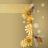 Bees and flowers. Abstract colorful design with bees and flowers royalty free illustration