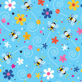 Bees and flowers pattern Royalty Free Stock Photo